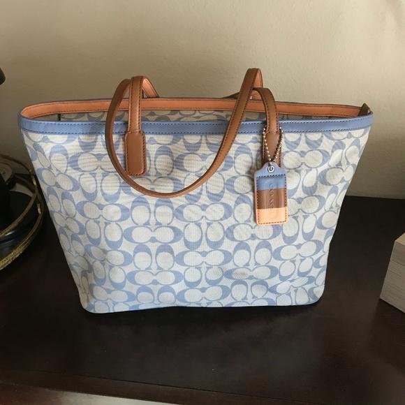 Coach Handbags - Pre-Loved Blue Coach Tote